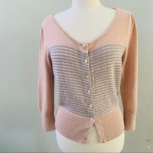 Anthro Knitted & Knotted pink metallic cardigan XL